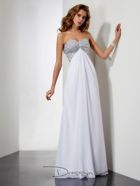 Sheath/Column Sleeveless Sweetheart Beading Chiffon Floor-Length Dress