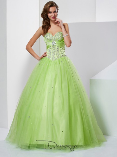 Ball Gown Sleeveless Sweetheart Beading Tulle Floor-Length Dress
