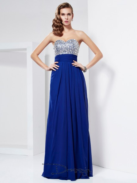 Sheath/Column Sleeveless Sweetheart Rhinestone Chiffon Floor-Length Dress