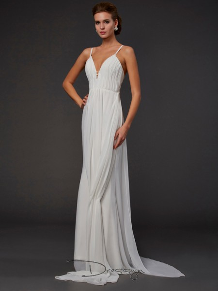 Trumpet/Mermaid Sleeveless V-neck Ruffles Chiffon Floor-Length Dress