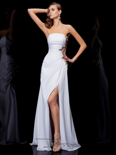 Sheath/Column Sleeveless Strapless Ruffles Applique Chiffon Floor-Length Dress
