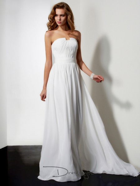A-Line/Princess Sleeveless Strapless Pleats Ruffles Chiffon Long Dress