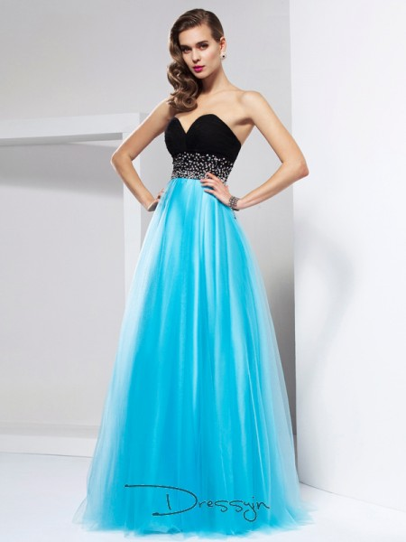 A-Line/Princess Sleeveless Sweetheart Sash/Ribbon/Belt Net Floor-Length Dress