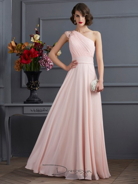 A-Line/Princess Sleeveless One-Shoulder Beading Chiffon Floor-Length Dress