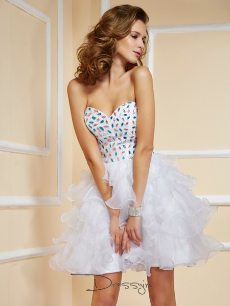A-Line/Princess Sleeveless Sweetheart Rhinestone Organza Short Dress