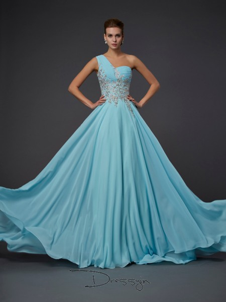 A-Line/Princess Sleeveless One-Shoulder Ruffles Chiffon Floor-Length Dress