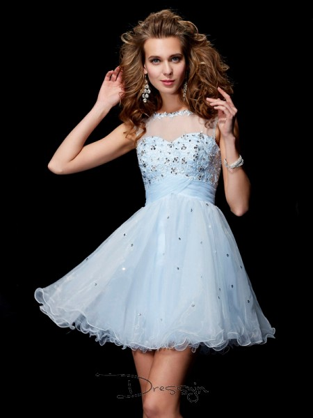 A-Line/Princess Sleeveless Scoop Beading Elastic Woven Satin Net Tulle Short Dress