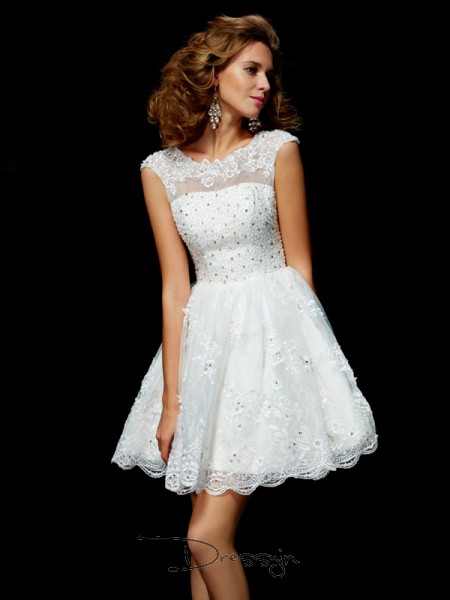 A-Line/Princess Short Sleeves V-neck Applique Organza Short Dress
