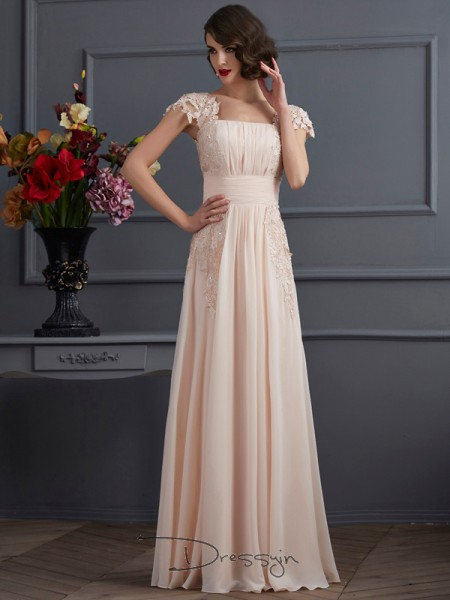 A-Line/Princess Short Sleeves Square Lace Chiffon Floor-Length Dress