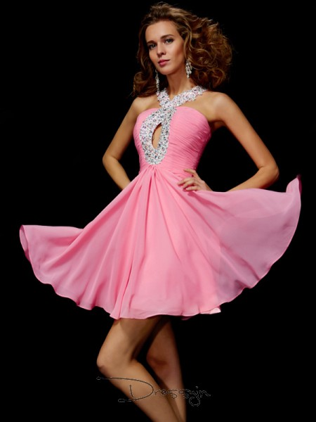 A-Line/Princess Sleeveless V-neck Beading Sequin Chiffon Short Dress