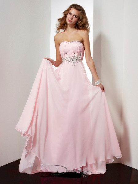 A-Line/Princess Sleeveless Sweetheart Beading Applique Chiffon Long Dress
