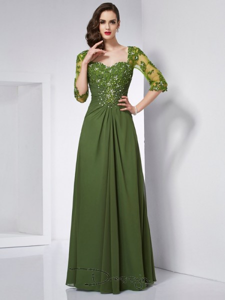 A-Line/Princess 3/4 Sleeves Sweetheart Beading Applique Chiffon Floor-Length Dress