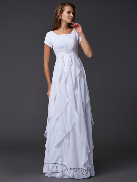 Sheath/Column Short Sleeves Square Ruffles Chiffon Floor-Length Dress