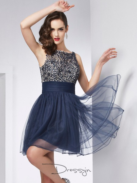 Sheath/Column Sleeveless Bateau Beading Tulle Short Dress