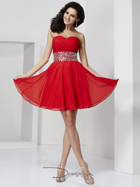 A-Line/Princess Sleeveless Sweetheart Rhinestone Chiffon Short Dress