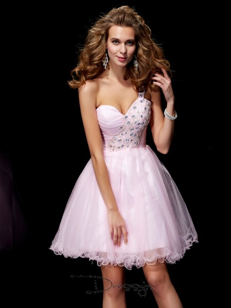 A-Line/Princess Sleeveless One-Shoulder Beading Elastic Woven Satin Net Short Dress