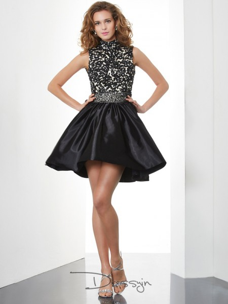 A-Line/Princess Sleeveless High Neck Beading Taffeta Short Dress