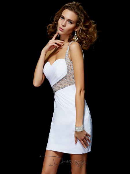A-Line/Princess Sleeveless One-Shoulder Sequin Chiffon Short Dress