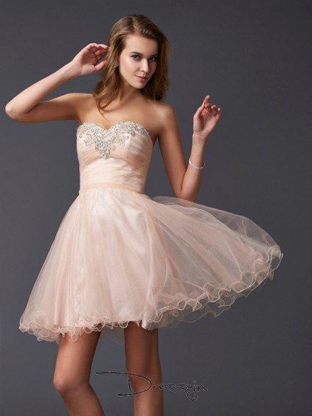 A-Line/Princess Sleeveless Sweetheart Silk like Satin Short Dress