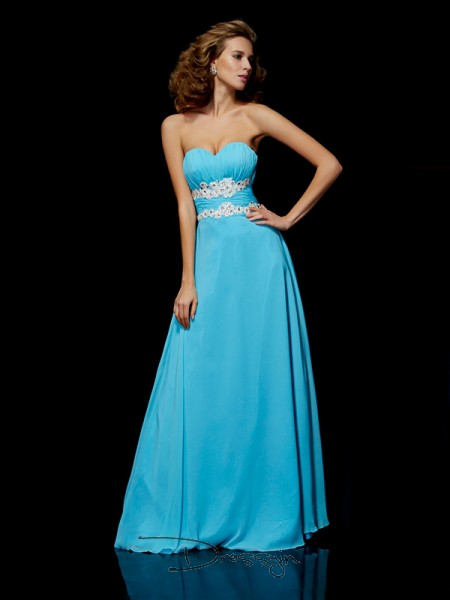 A-Line/Princess Sleeveless Sweetheart Applique Chiffon Floor-Length Dress