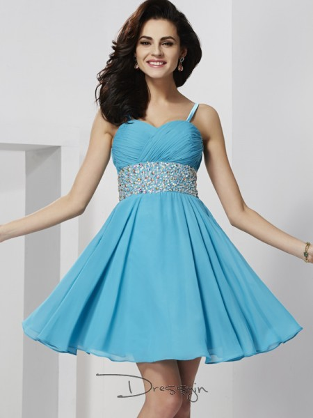 A-Line/Princess Sleeveless Spaghetti Straps Rhinestone Chiffon Short Dress