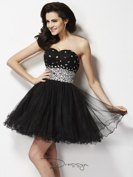 A-Line/Princess Sleeveless Sweetheart Beading Sequin Elastic Woven Satin Short Dress