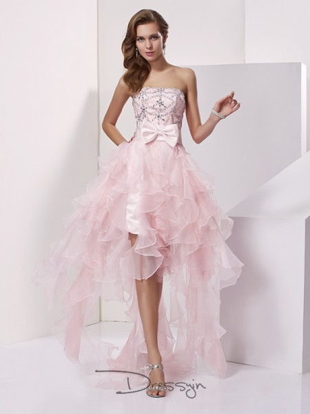 A-Line/Princess Sleeveless Strapless Beading Organza Asymmetrical Dress