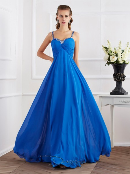 A-Line/Princess Sleeveless Spaghetti Straps Beading Applique Chiffon Floor-Length Dress