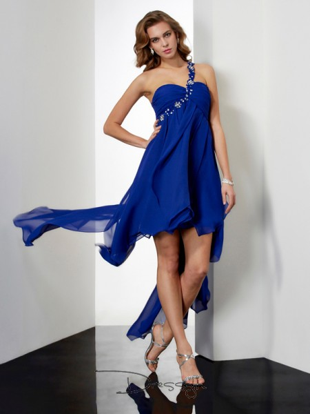A-Line/Princess Sleeveless One-Shoulder Beading Chiffon Asymmetrical Dress