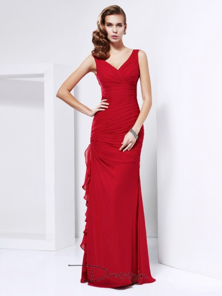 Sheath/Column Sleeveless V-neck Ruched Chiffon Floor-Length Dress