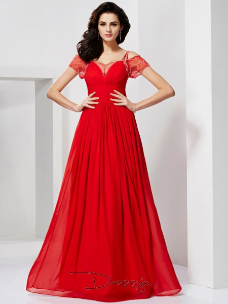 A-Line/Princess Short Sleeves Spaghetti Straps Ruffles Beading Chiffon Floor-Length Dress