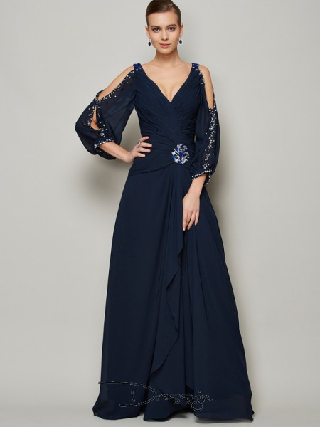A-Line/Princess Long Sleeves V-neck Beading Chiffon Floor-Length Dress