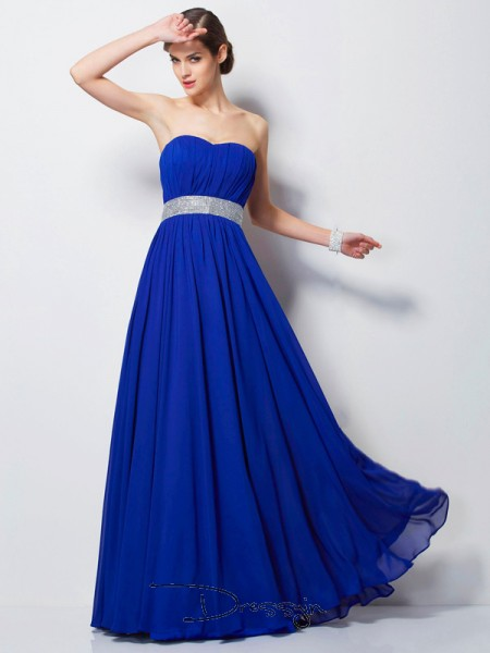 Empire Sleeveless Sweetheart Beading Chiffon Floor-Length Dress