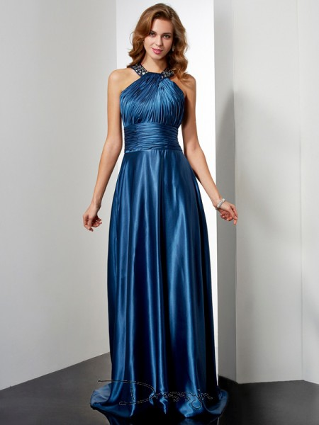 A-Line/Princess Sleeveless Halter Ruffles Beading Elastic Woven Satin Floor-Length Dress