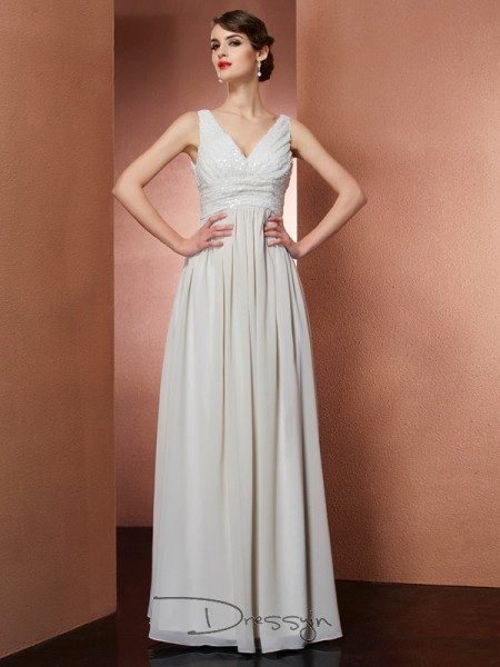 A-Line/Princess Sleeveless V-neck Chiffon Floor-Length Dress