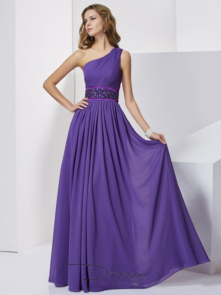 Empire Sleeveless One-Shoulder Beading Chiffon Floor-Length Dress