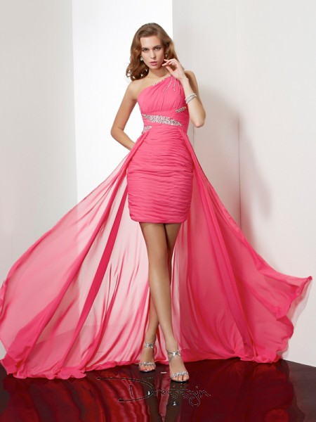 Sheath/Column Sleeveless One-Shoulder Beading Chiffon Short Dress