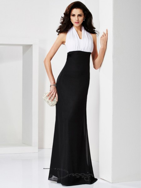Trumpet/Mermaid Sleeveless Halter Pleats Chiffon Floor-Length Dress