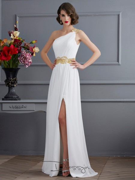 A-Line/Princess Sleeveless One-Shoulder Ruched Chiffon Long Dress
