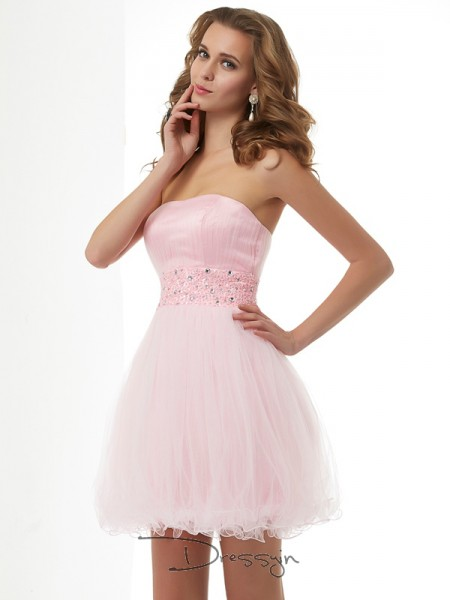 Sheath/Column Sleeveless Sweetheart Beading Elastic Woven Satin Net Short Dress