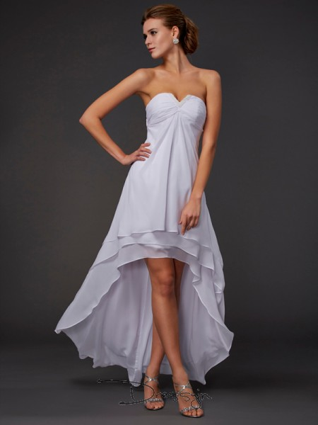 A-Line/Princess Sleeveless Sweetheart Ruffles Chiffon Asymmetrical Dress