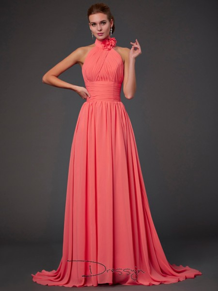 A-Line/Princess Sleeveless Halter Hand-Made Flower Chiffon Long Bridesmaid Dress