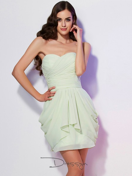 A-Line/Princess Sleeveless Sweetheart Pleats Chiffon Short Dress