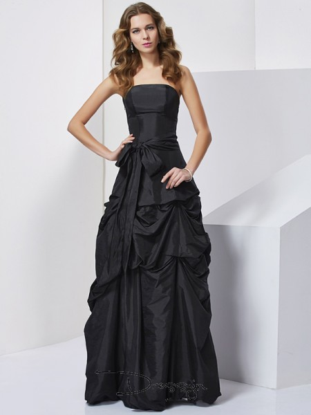 Sheath/Column Sleeveless Strapless Bowknot Taffeta Floor-Length Dress