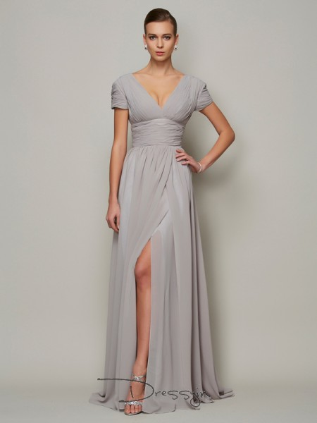 A-Line/Princess Short Sleeves V-neck Chiffon Floor-Length Dress
