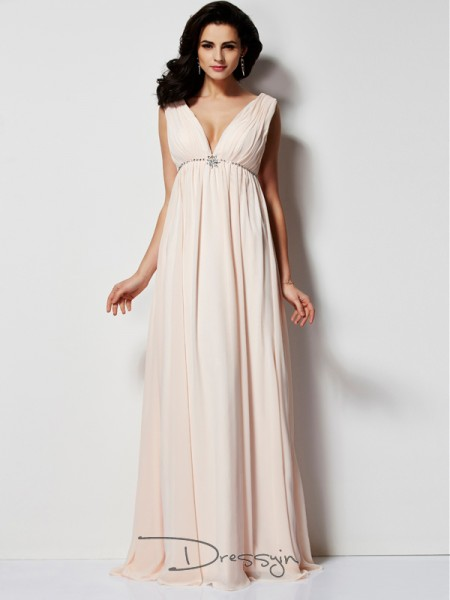 A-Line/Princess Sleeveless V-neck Pleats Chiffon Floor-Length Dress
