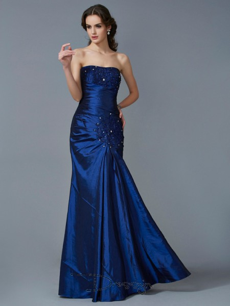 Trumpet/Mermaid Sleeveless Strapless Applique Taffeta Floor-Length Dress