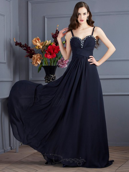 A-Line/Princess Sleeveless Spaghetti Straps Beading Chiffon Long Dress