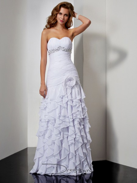 A-Line/Princess Sleeveless Sweetheart Ruffles Beading Chiffon Floor-Length Dress