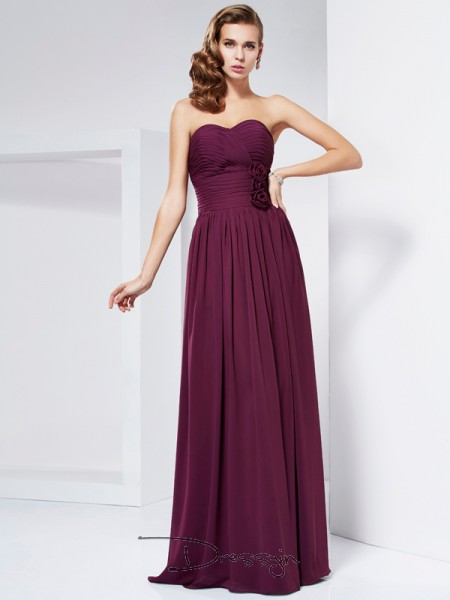 Sheath/Column Sleeveless Sweetheart Hand-Made Flower Chiffon Floor-Length Dress